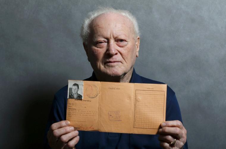 Image: Auschwitz death camp survivor Janos Forgacs poses for a portrait in Budapest