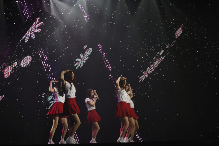 """Image: Members of South Korean girl group GFriend perform during """"The Show"""" in Seoul"""