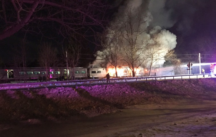 The Valhalla Fire Department responds at the scene of a Metro North commuter train crash in Valhalla, N.Y., on Feb. 3, 2015.
