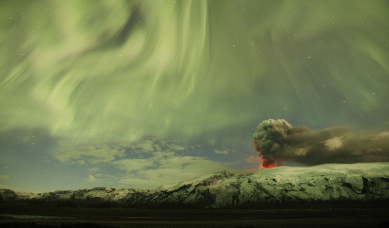 Image: File photo of the Northern Lights as seen above the ash plume of Iceland's Eyjafjallajokull volcano in the evening