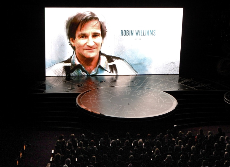"""Image: Actor Robin Williams is honored during the """"In Memoriam"""" segment of the 87th Academy Awards in Hollywood"""