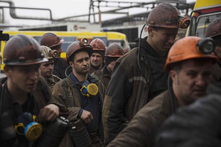 Image: Miners arive at the Zasyadko coal mine in Donetsk
