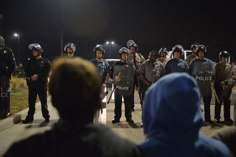 Image: Protests errupt after Ferguson Mayor announces resignation of city Police Chief