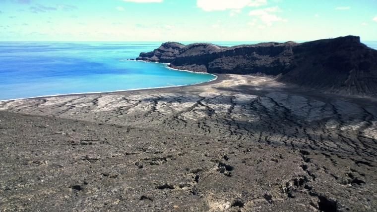 New volcanic island at Hunga area of Tonga, Pacific Islands.  Photographer GP Orbassano. 6 March 2015