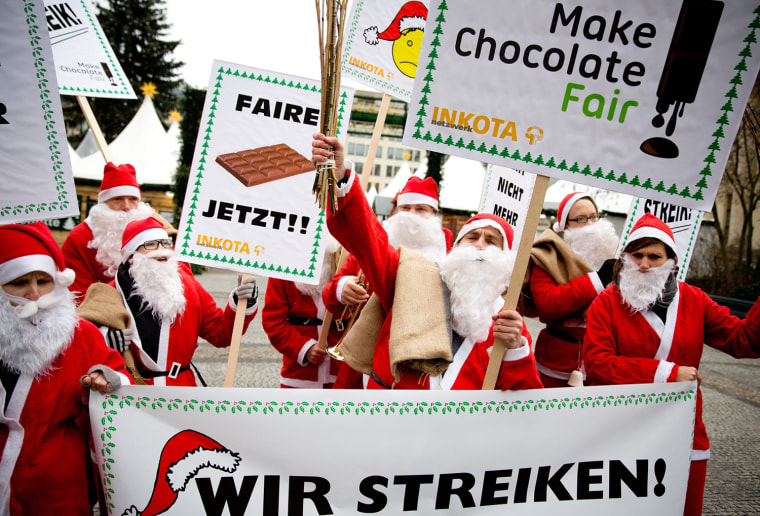 Image: Santas on strike