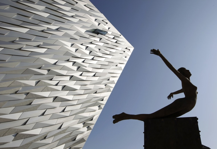 Image: An exterior view shows The Titanic Belfast building in Belfast