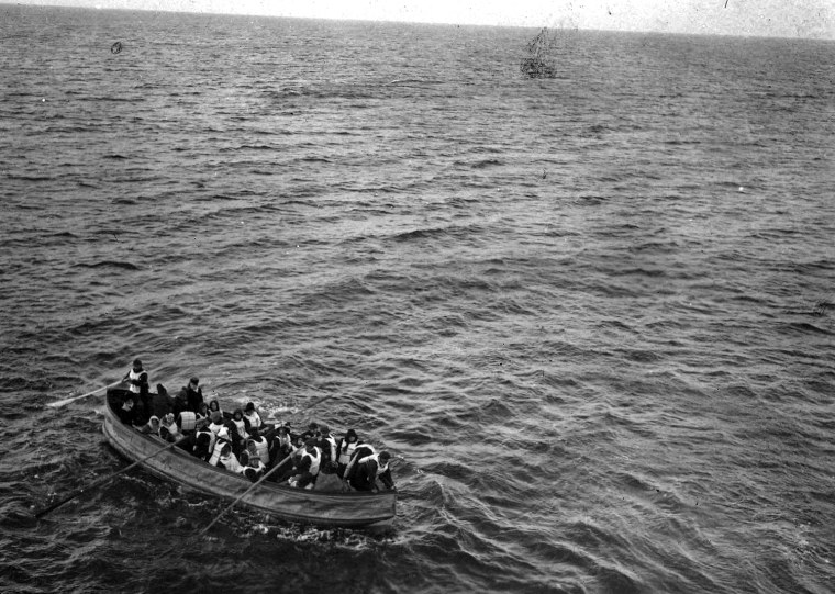Image:  Survivors of the sinking of the RMS Titanic approach the RMS Carpathia.