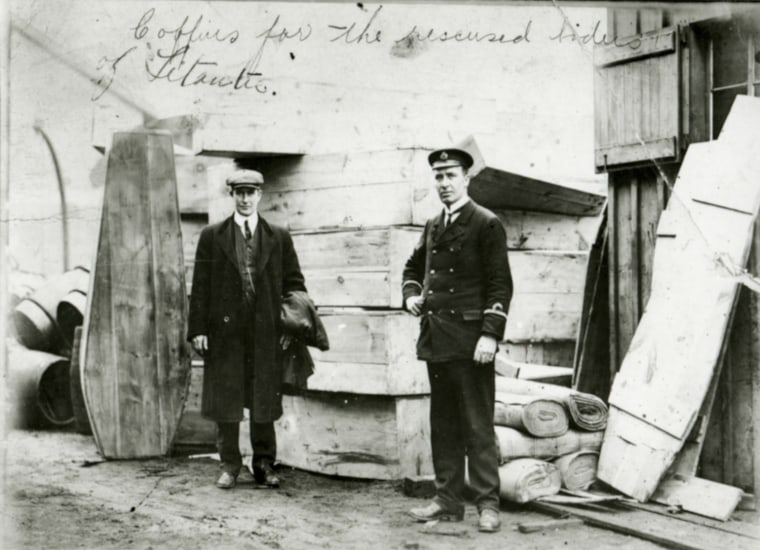Image: Coffins for the recovered bodies from the Titanic are seen in Halifax in 1912