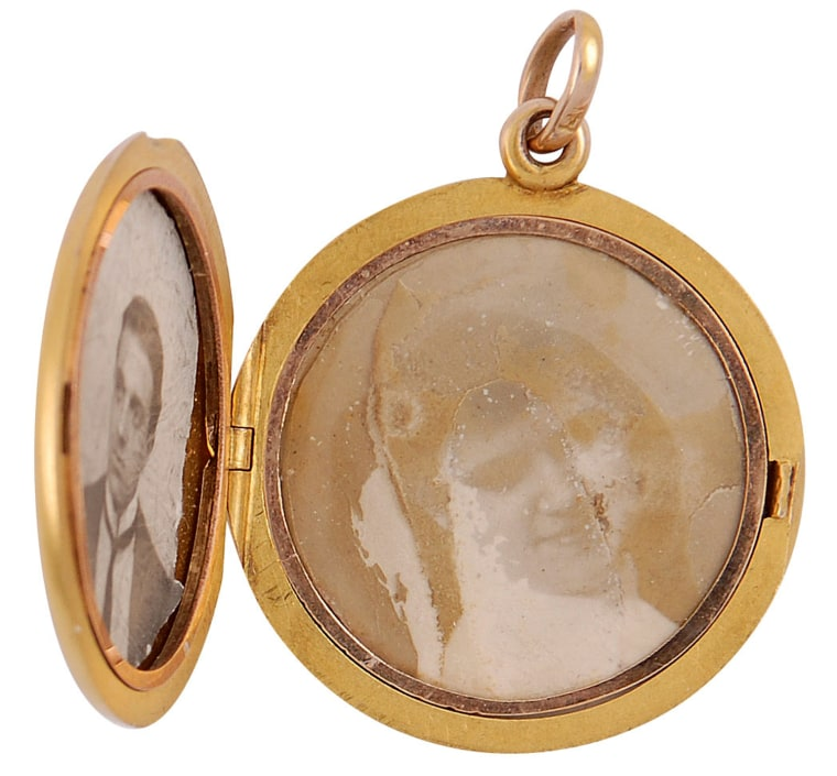 Image: Undated handout image shows a locket belonging to a personal valet who died on the Titanic