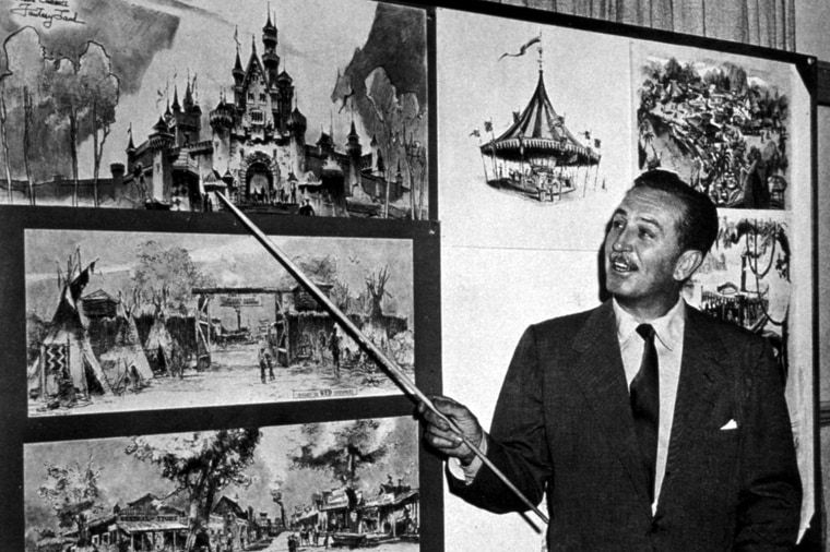 """An imaginative idea Walt Disney presents his vision of a """"magical park."""" The more he dreamed of it, the more imaginative and elaborate his plans became.  In 1954, the year before Disneyland opened, Walt Disney shared his ideas on TV -- and to potential investors -- by using maps and concept drawings to show what Disneyland would be like."""