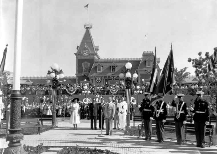 """Opening the Happiest Place on Earth  Disneyland's Opening Day, July 17, 1955.  Opening Day attendance was 28,154 and 90 million viewers watched Dateline: """"Disneyland"""" on ABC Television.  Disneyland opened to the public with general admission costing $1."""