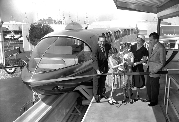 Magical motoring  Then-Vice President Richard Nixon and family help Walt Disney introduce the Disneyland Monorail, on June 14, 1959.    The Disneyland Monorail opened with two Mark I trains, the Red and the Blue. In 1961, the monorail was extended to include the Disneyland Hotel and the fleet was upgraded to Mark II trains. Today, there are three Mark V monorails -- Red, Blue and Purple -- in service at the Disneyland Resort. At the time it was the only such system in the Western Hemisphere.   In the 45 years since, over 150 million passengers have traveled nearly 3 million miles gliding to and from Disneyland.