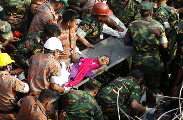 Image: Woman trapped 16 days under collapsed building rescued