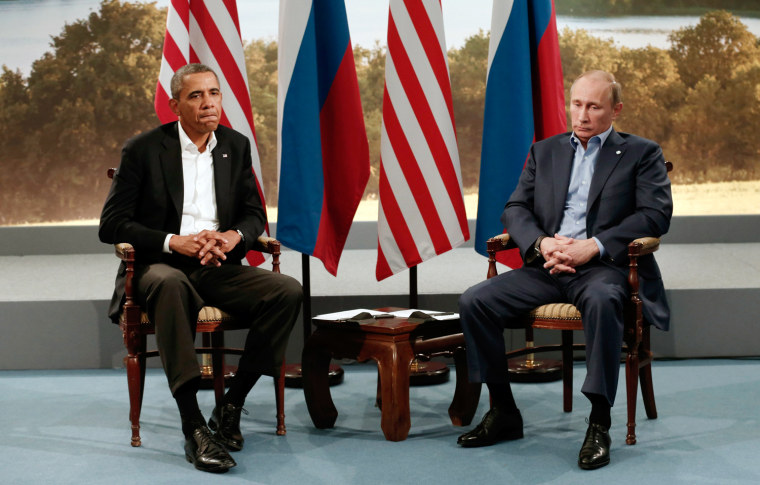 Image: Obama meets with Vladimir Putin during the G8 Summit at Lough Erne in Enniskillen
