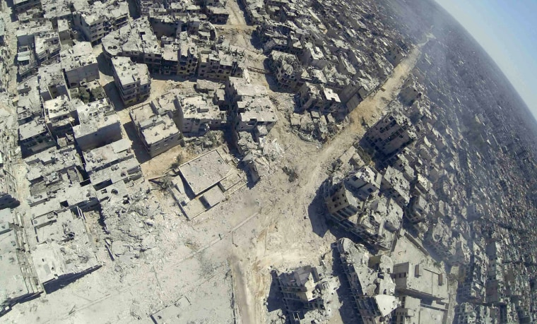 Image: Aerial view shows the destruction in the Khalidiya district of Homs