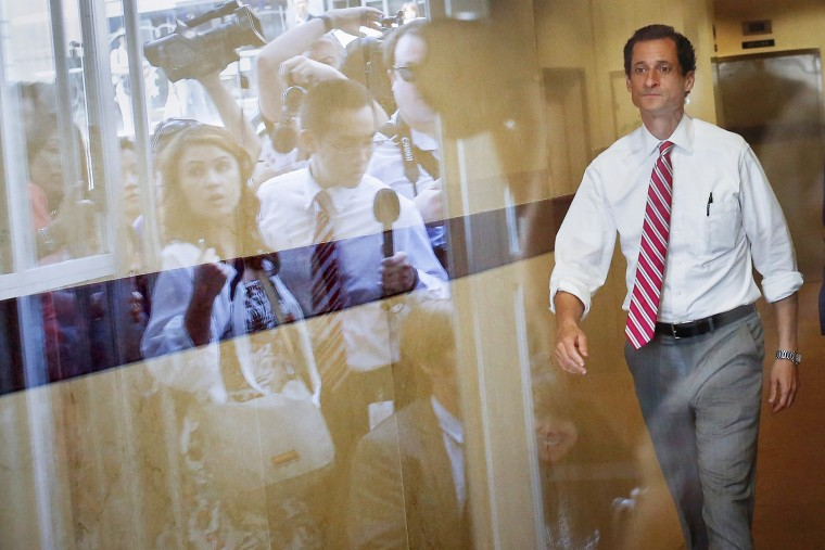 Image: Former U.S. congressman from New York and current Democratic candidate for New York City Mayor Weiner leaves a campaign stop at the Nan Shan Senior Center to meet the press, in the Queens borough of New York