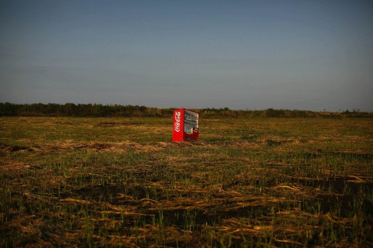 Image: A vending machine, brought inland by a tsunami, is seen in a abandoned rice field inside the exclusion zone at the coastal area near Minamisoma in Fukushima prefecture