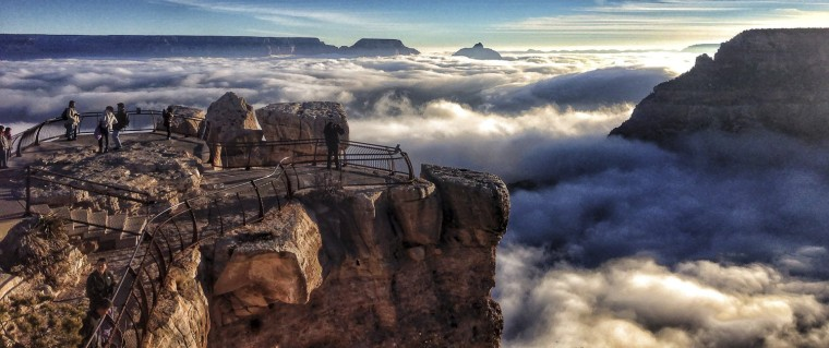 Image: A rare total cloud inversion is pictured at Mather Point on the South Rim of the Grand Canyon National Park