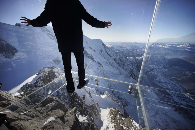 Image: 'Step into the Void' installation on a mountain peak in the French Alps