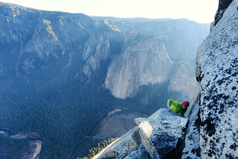 Tommy Caldwell completing historic Dawn Wall free climb  Bligh Gillies / Big UP Productions / Aurora Photos