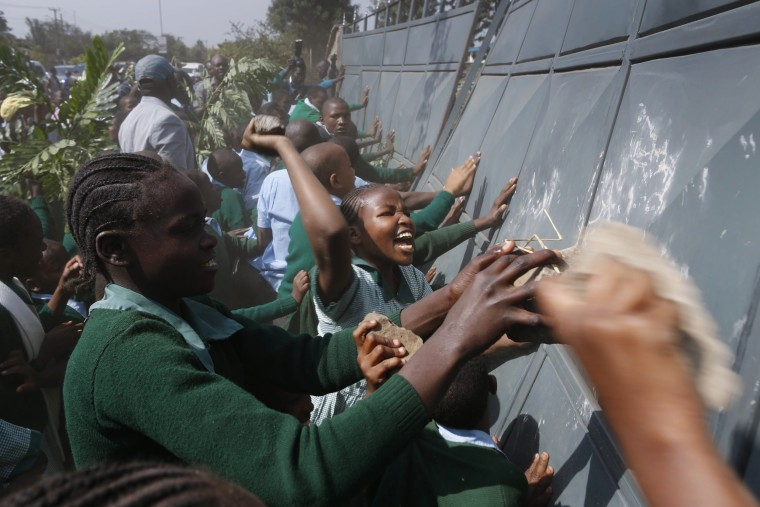 Image: Police in Kenya fire teargas canisters at school children