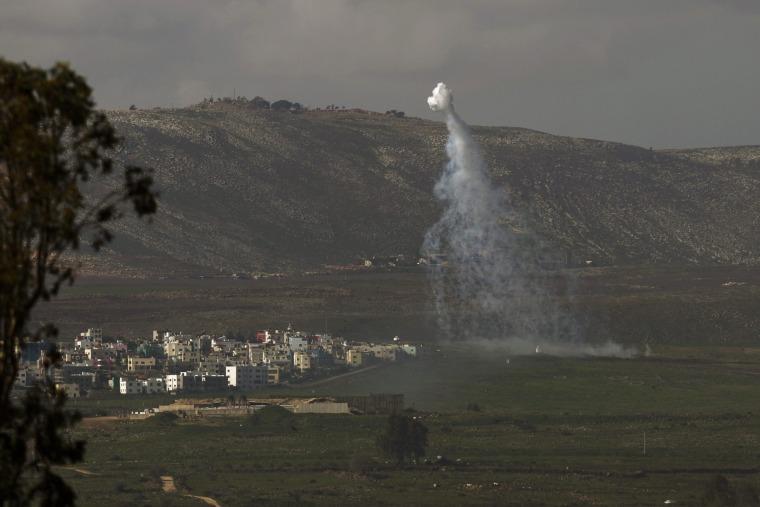 Image: Anti-tank missile hits Israeli army vehicle near Lebanon border