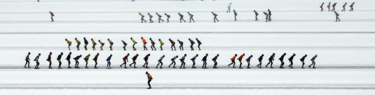 Image: Skaters participate in the 200 km race in the Carinthian village of Techendorf