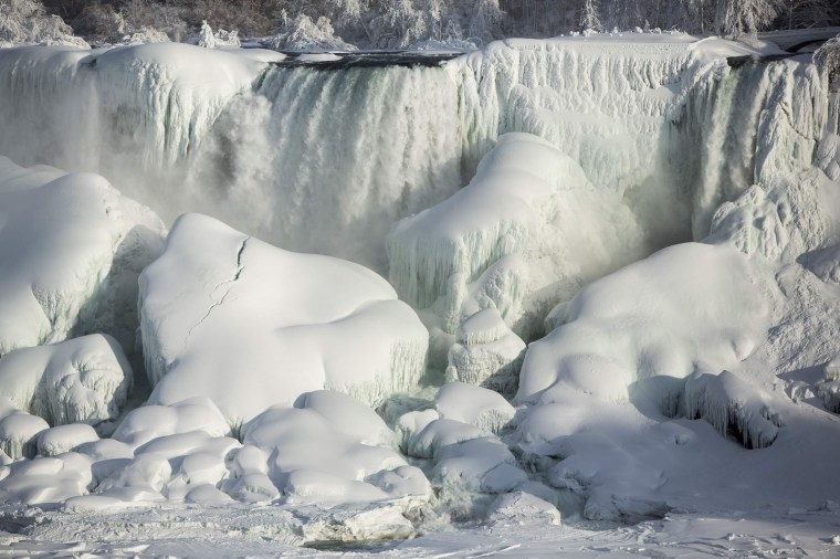 Image: A partially frozen American Falls in sub freezing temperatures is seen in Niagara Falls Ontario