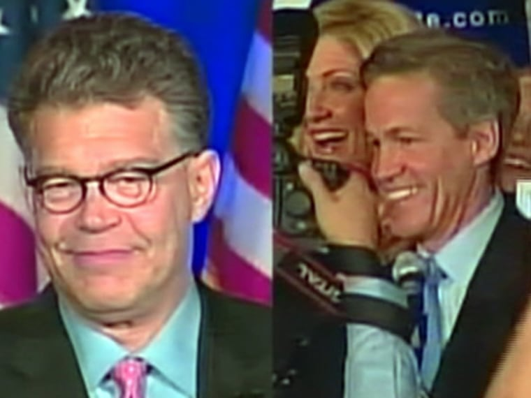 Al Franken, left, and Norm Coleman most likely will not know who won their Nov. 4 election until nearly 1600 improperly rejected absentee ballots are counted and challenged.