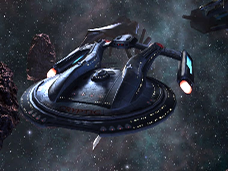 """Federation starships like this one from the """"Star Trek Online"""" game zoom around using fictional warp-drive technology. Theoretically, such technology is not strictly impossible, just highly unlikely, physicists say."""