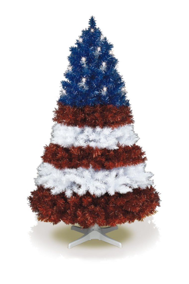 funky artificial trees - Red White And Blue Decorated Christmas Tree