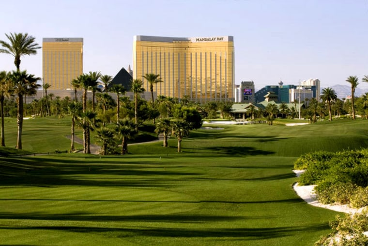 The High Roller Golf Package includes two nights at Mandalay Bay Resort and two rounds of golf. The courses include Bali Hai Golf Club (pictured) and Royal Links Golf Club. Cost is $599 during the week and $699 on the weekend.