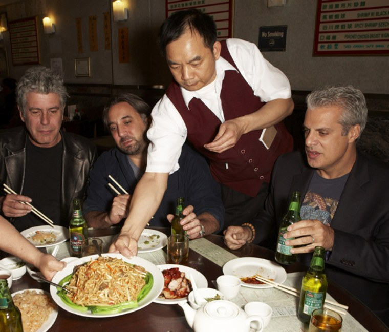 Celeb chefs, Anthony Bourdain, Marco Canora, and Eric Ripert do what they do (second) best — eat.