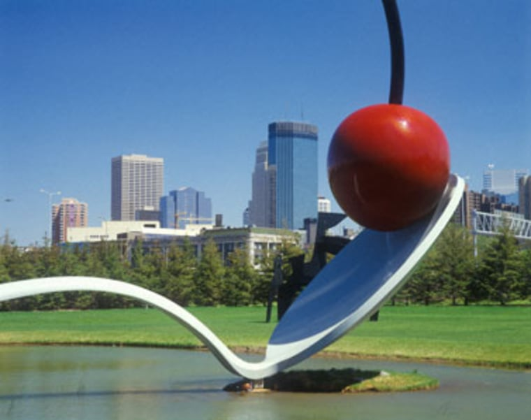 The Spoonbridge Cherry sculpture, in Minneapolis Minn. — the No. 1-ranked city for the smartest people in the country.