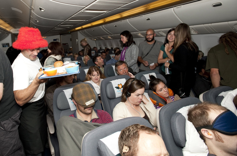Passengers played games and enjoyed other activities on Air New Zealand's Matchmaking Flight.