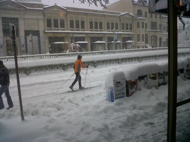 People skiing in Washington, D.C.