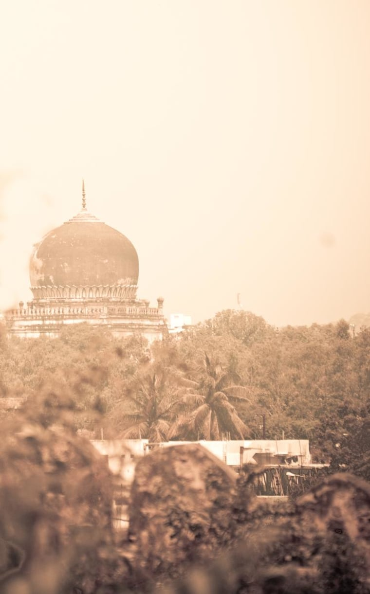 Shot from Hyderabad India's most celebrated forts, the view across the jungles and time to the mosques build across time in later centuries. It's a timeless snapshot of sultans and kings.