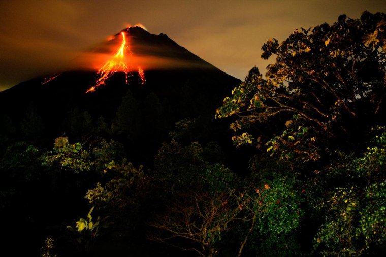 A night view of Arenal Volcano from the nearby observatory.