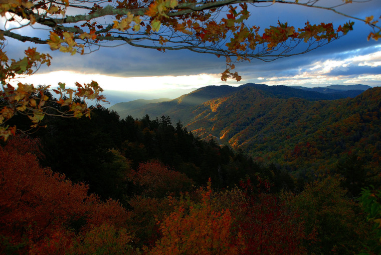 Sunrise at Newfound Gap in The Great Smokie Mountains.