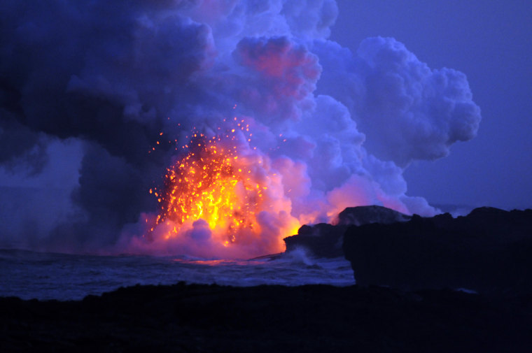 While traveling on the Big Island in Hawaii, my daughter and I ventured to a spot where the rangers said we MIGHT get to see some lava, but mostly they said it would be steam. So we felt lucky to get a glimpse of mother nature in action.