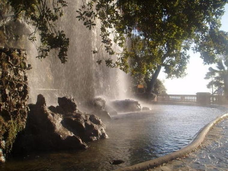 Cliffside waterfall in Nice, France