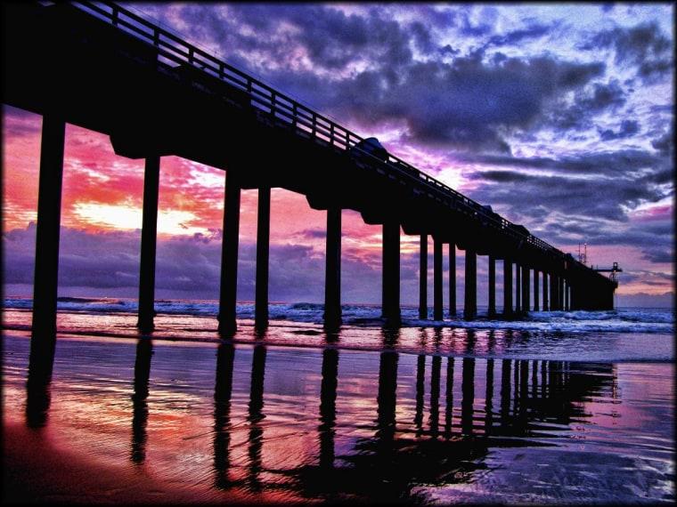 Scripps Pier at dusk, La Jolla, CA
