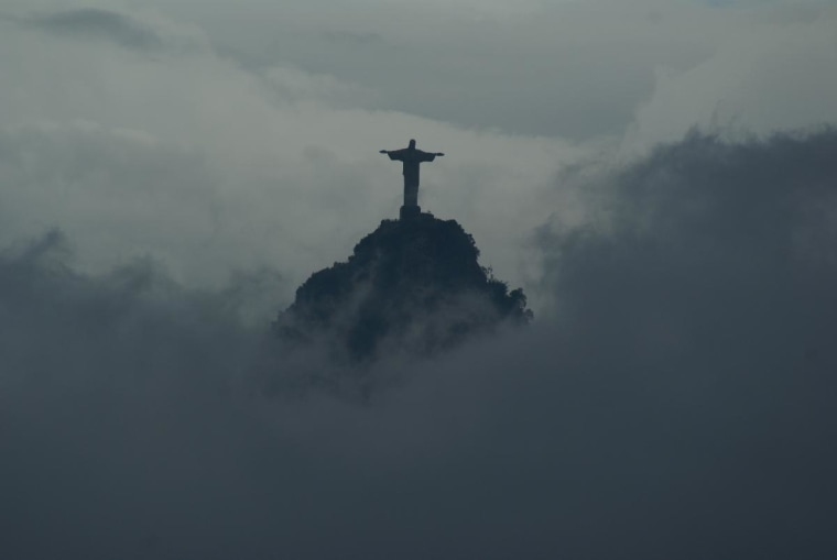 Christ the Redeemer, on the Corcovado Mountain, from the top of Sugarloaf Mountain in Rio de Janeiro. March 2009.