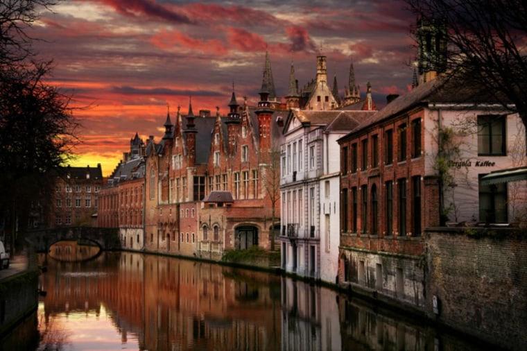 Sunset over Bruges, Belgium