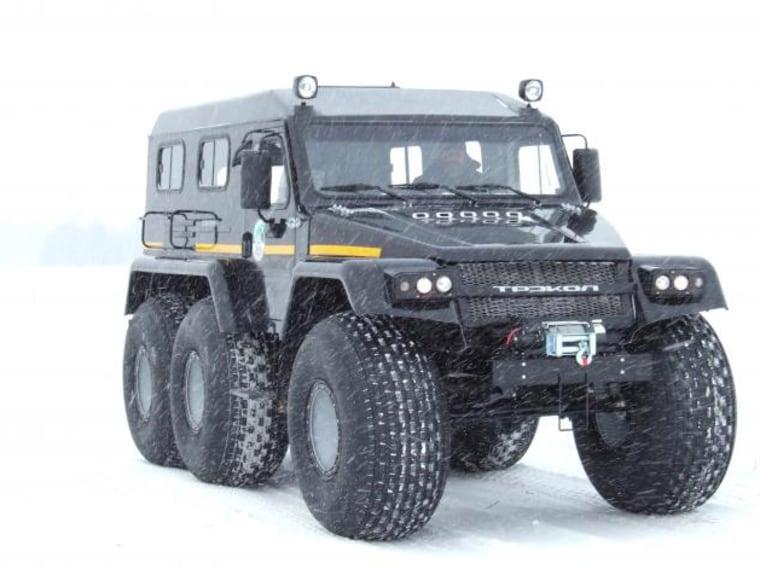 The fiberglass body of the six-wheel Trekol, a two-ton amphibian, is well insulated.