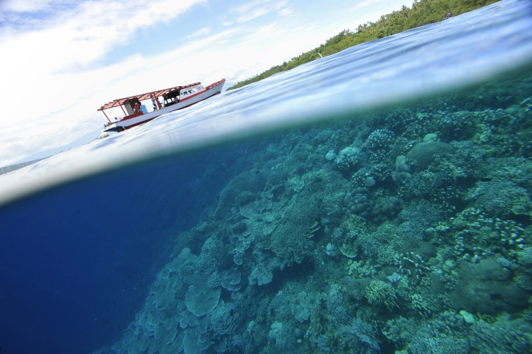 "A fishing boat appears to sit between corals and mangrove trees at the Bunaken Island Marine National Park in Manado, Indonesia. The area is part of the larger area dubbed the ""Coral Triangle."""