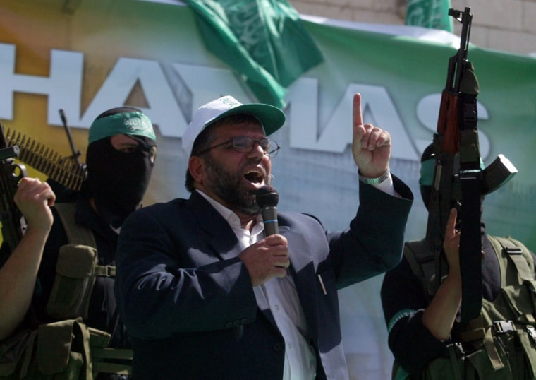 Sheikh Hassan Yousef, a Hamas founder, speaks during a rally in the West Bank city of Ramallah in 2006.