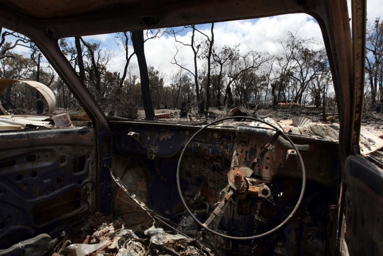 This vehicle and the property it sits on were destroyed by wildfirenear Toodyay in westernAustralia.