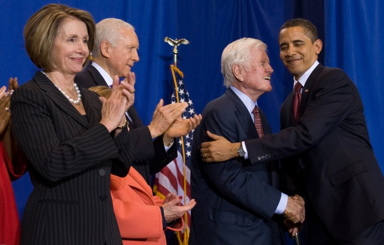 President Obama embraces Sen. Edward Kennedy, D-Mass., before signing the Edward M. Kennedy Serve America Act, which provides the boldest expansion of opportunities to serve the country and communities since the creation of AmeriCorps.