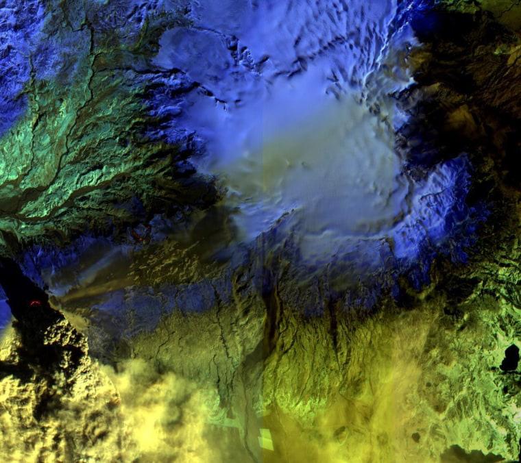 An April 17NASA imageshows theEyjafjallajokull volcanoto the west andMyrdalsjokull ice cap, beneath which slumbers the mighty Katla volcano, to the east.